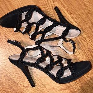 Rhinestone like heeled sandals